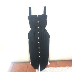 Cotton On Dress Black Button Down Maxi Sleeveless
